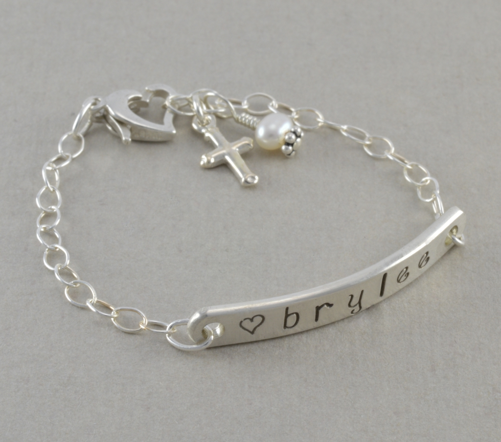 Baby Id Bracelet Hand Stamped Sterling Silver Little