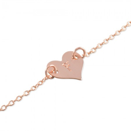 Flora Rose Gold, Yellow Gold or Silver Heart Bracelet