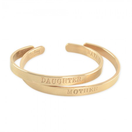 Personalized Gold Cuff Bracelet Bangles Mother Daughter jewelry set