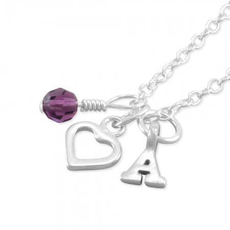 Amber Personalized Heart Necklace