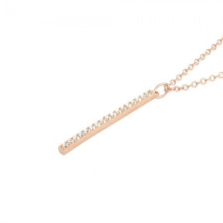 CZ Bar Necklace, Rose or Yellow Gold or Sterling