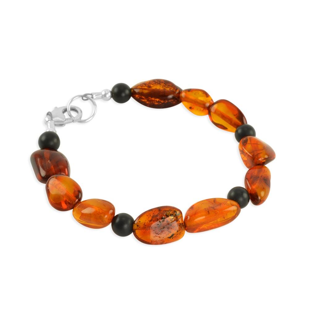 Jacob Baltic Amber Onyx Bracelet