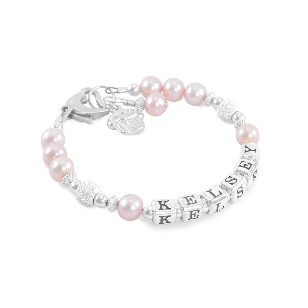 Six Sisters Beadworks Pink Baby Name Bracelet Pearls
