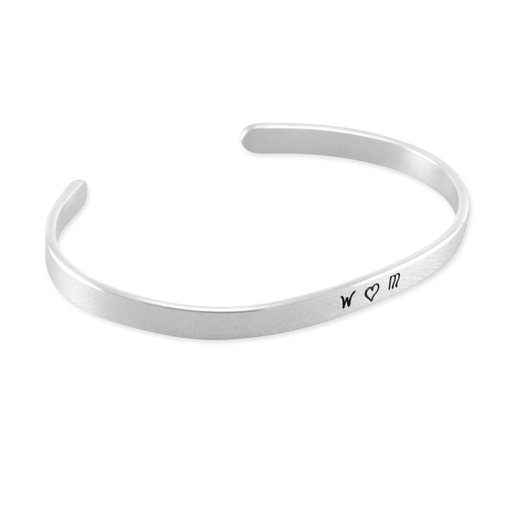 Clic Hand Stamped Sterling Silver Cuff Bracelet
