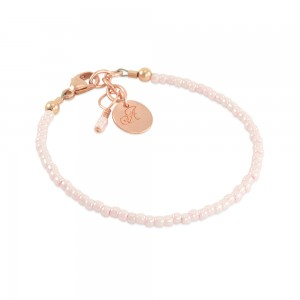 Hallen Dainty Seed Bead Bracelet with Custom Disc