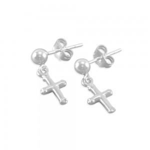 Angelica Little Girls Cross Earrings