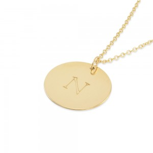 Natasha Gold Coin Monogram Necklace