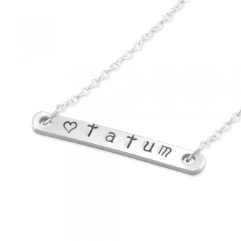 Tatum Hand Stamped Name Bar Necklace