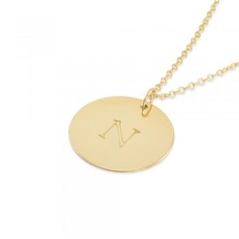 Natasha Gold Coin Monogram Necklace
