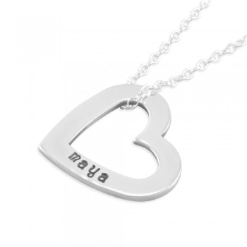 Maya Hand Stamped Heart Necklace