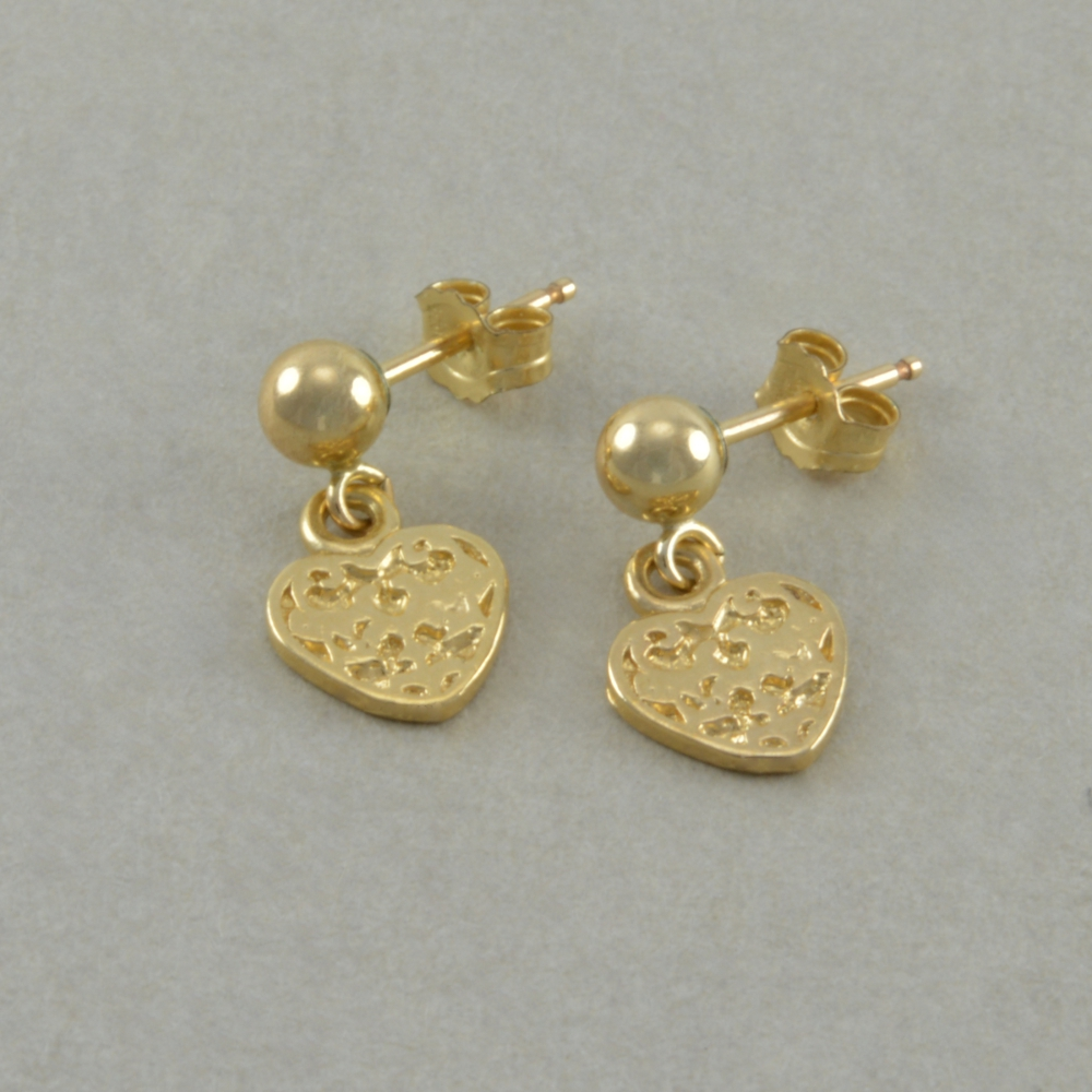Girls Gold Heart Earrings, small dangle, childs jewelry ...