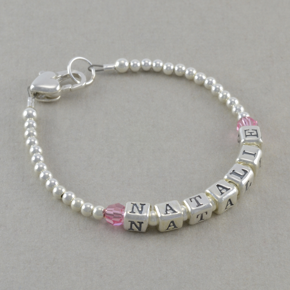 Baby Name Bracelet Sterling Silver Newborn Girl