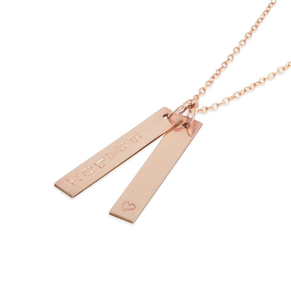 inc golden necklace rectangle thread nameplate karat products