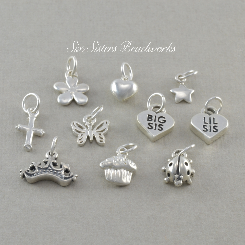 six sisters beadworks add a charm necklace bracelet sterling