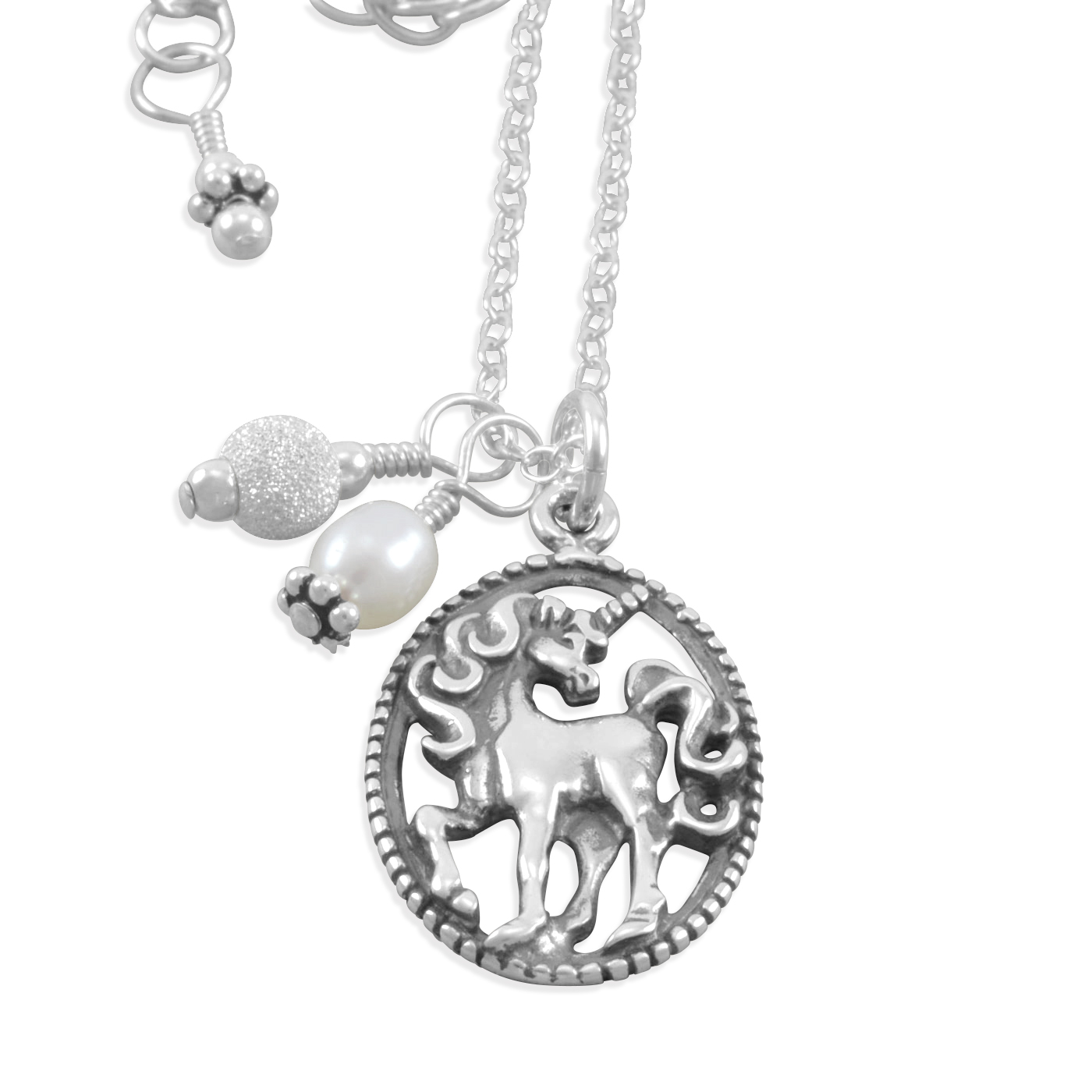 Six Sisters Beadworks Taylen Unicorn Necklace Sterling