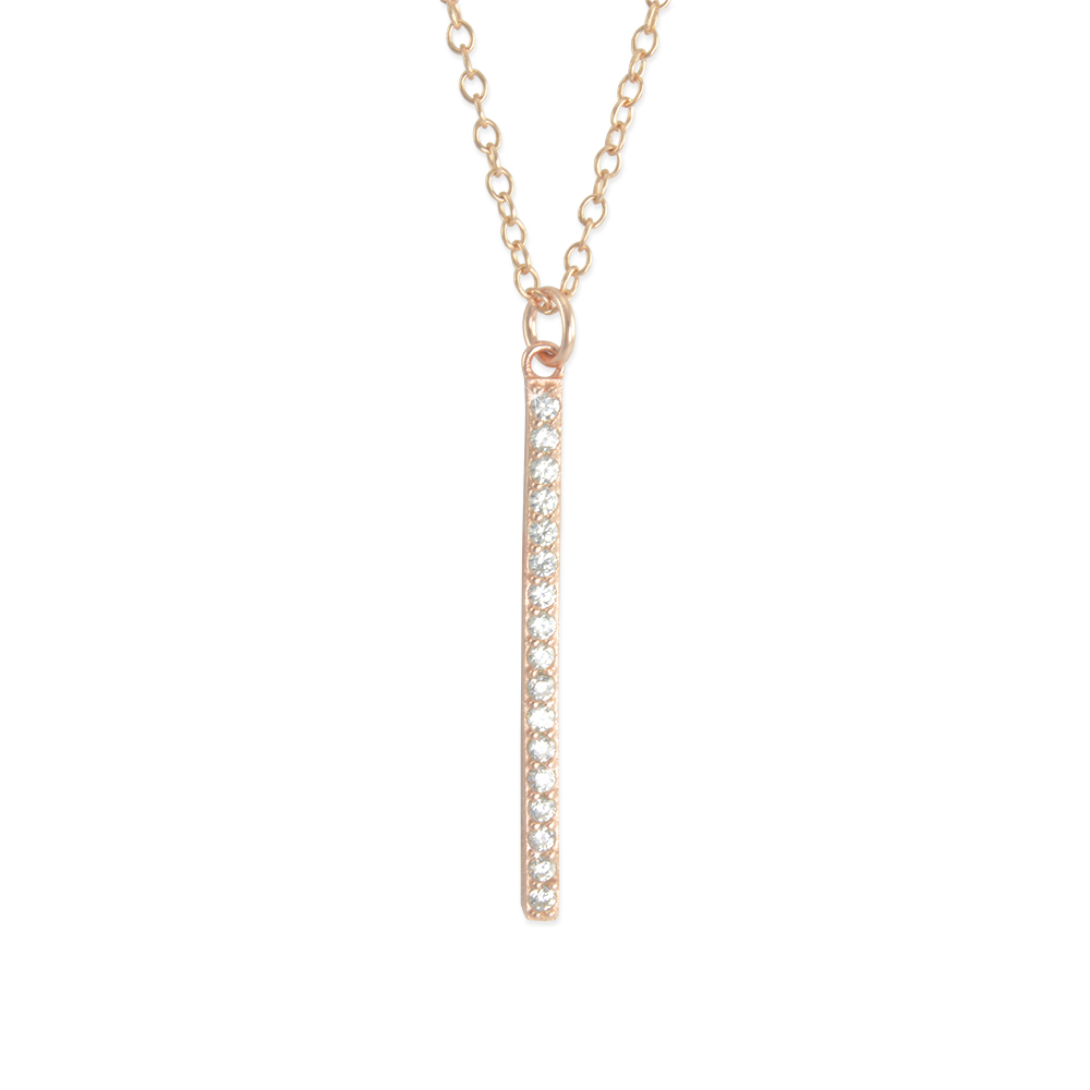 Six Sisters Beadworks Rose Gold Vertical Bar Necklace