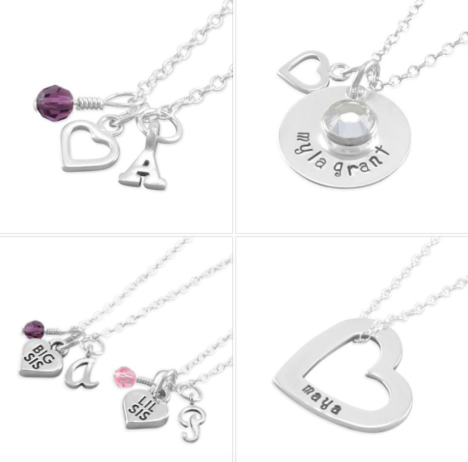 Valentine's Day necklaces for girls, name, initials, birthstones.