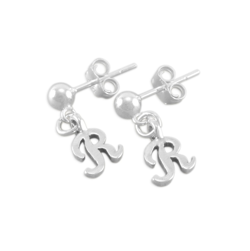 925 Sterling Silver Polished Initial Letter B Dangle Post Earrings