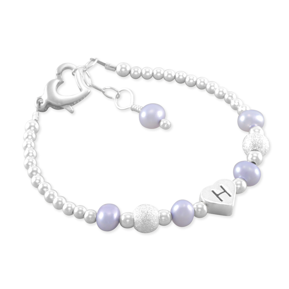 bec5b52a0 Six Sisters Beadworks - Baby Girl Gift, Baby Name Bracelet, Sterling silver,  first birthday gift, personalized, present, purple pearls, jewelry, ...