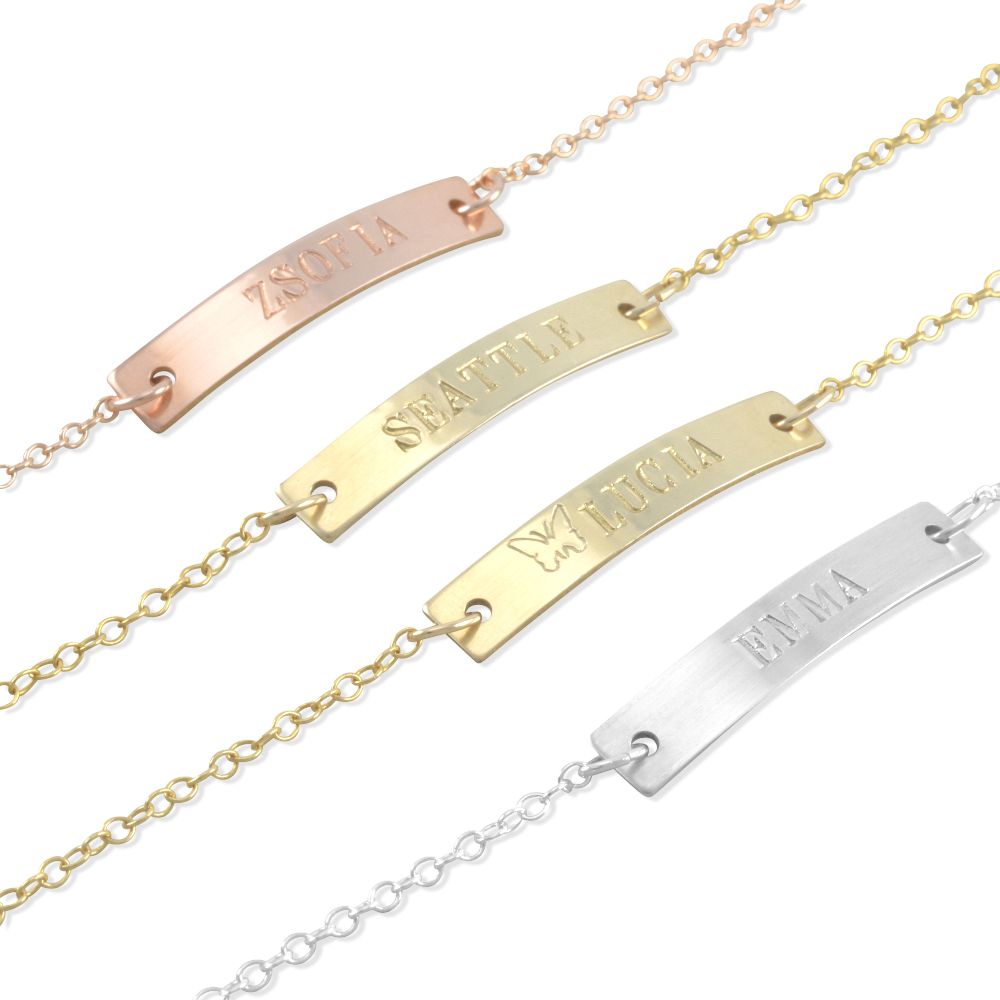Kate Rose Gold Yellow Or Silver Id Bracelet