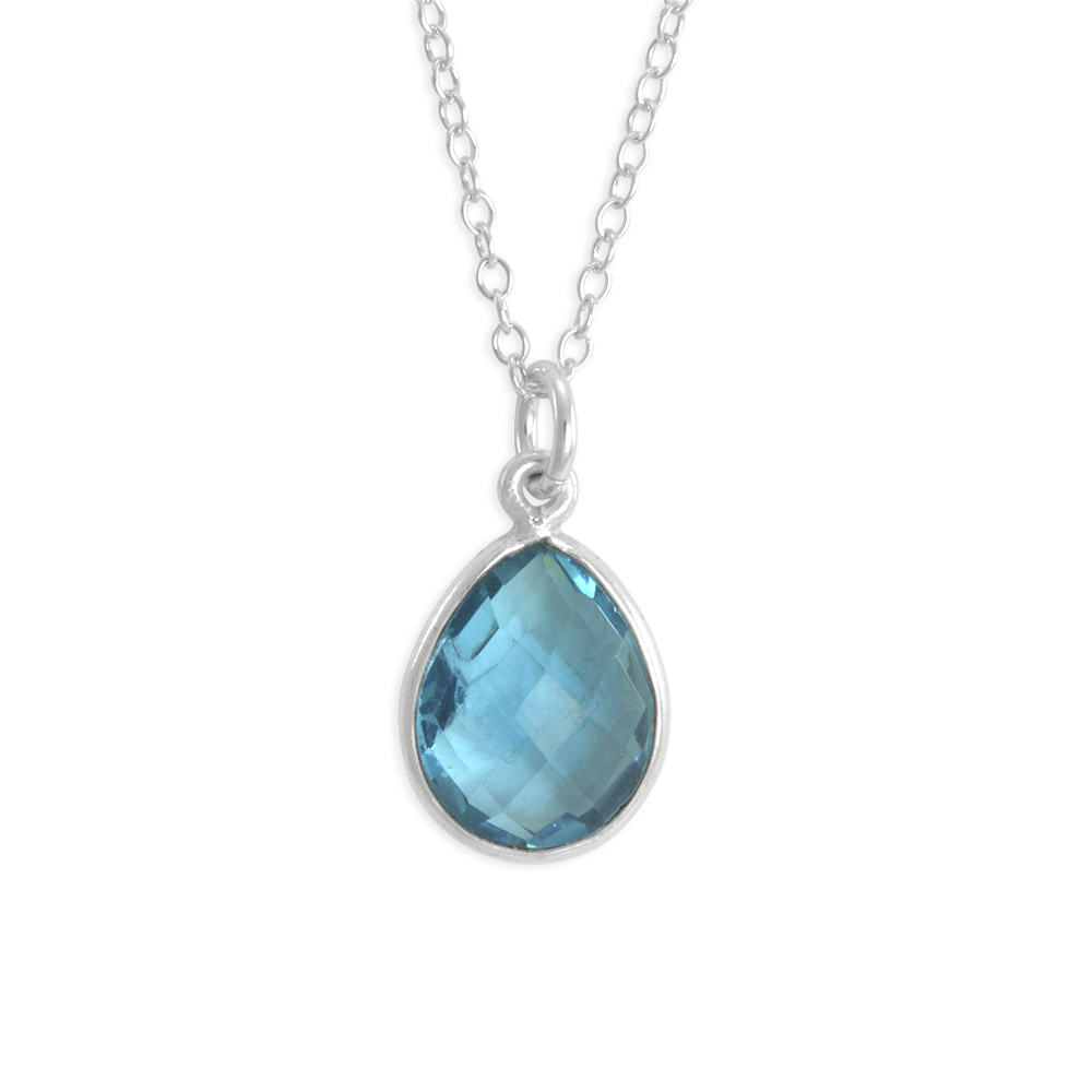 Six Sisters Beadworks Blue Stone Necklace Sterling